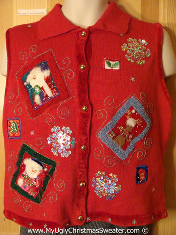 Tacky Holiday Sweater Vest with Crafty Patchwork Bling Snowflakes and Santa (f1019)