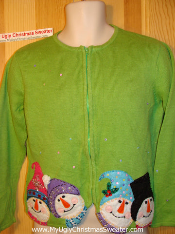 Tacky Ugly Christmas Green Sweater Four Carrot Nosed Snowmen with Bling Decoration (f101)