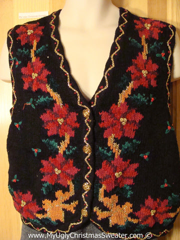 Tacky Holiday Sweater Vest with Bold Poinsettias and Rusty Colored Accents  (f1020)