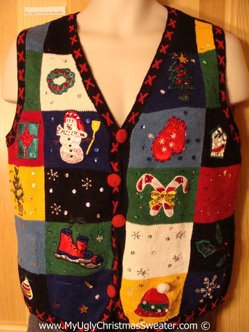 Tacky Holiday Sweater Vest with Crafty Patchwork Designs (f1021)