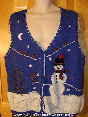 Tacky Holiday Sweater Vest with Huge Carrot Nosed Snowman in a Nighttime Winter Scene (f1022)