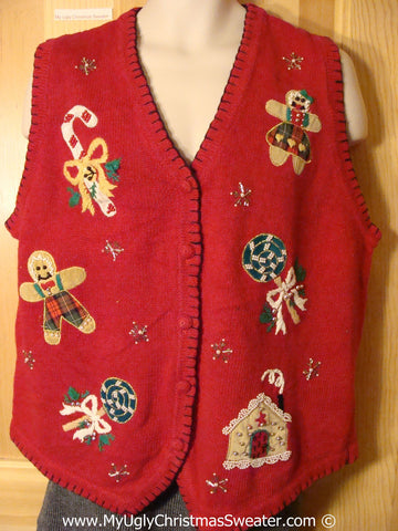 Tacky Christmas Sweater Party Cheap Ugly Christmas Sweater Vest with Gingerbread Men and Candy Canes  (f1024)