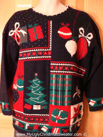 Tacky Holiday Sweater 80s Classic with Crafty Plaid Accents (f1026)