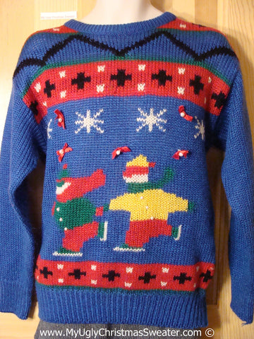 Vintage 80s Tacky Holiday Sweater with Skating Children (f1027)