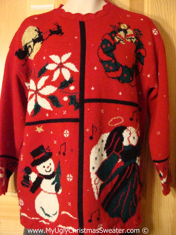 Classic 80s Tacky Holiday Sweater with Angel, Poinsettias, Snowman, and Santa with Reindeer (f1028)