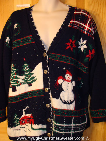 80s Classic Tacky Cardigan Sweater with Snowman, Poinsetias, and Winter Scenes (f1029)