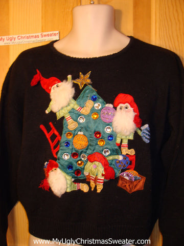 Tacky Ugly Christmas Sweater with 3D Bearded Santas / Elves Decorating a Bling Tree (f102)
