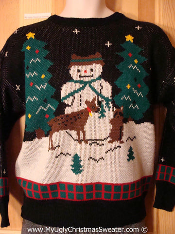 Tacky Christmas Sweater Party Classic 80s Vintage Ugly Christmas Sweater with Reindeer and Raccoon and Giant Snowman (f1030)