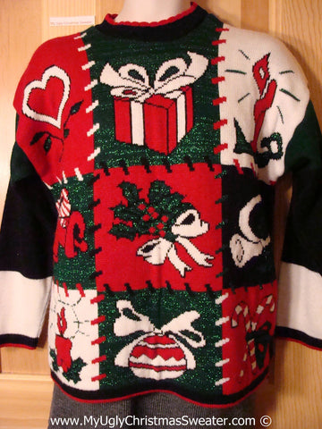 Classic 80s Acrylic Tacky Holiday Sweater with Patchwork Blocks of Candle, Gift, Heart, Candy Canes and Ivy. (f1031)