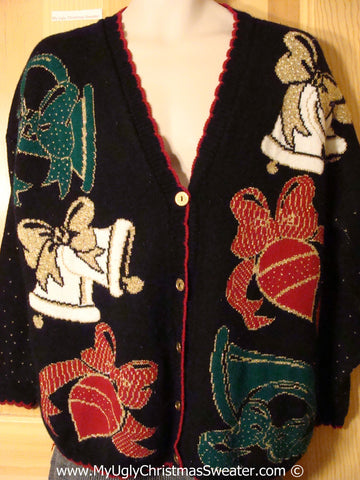 Tacky Christmas Sweater Party Classic 80s Ugly Sweater Cardigan with Huge Bells and Ornaments (f1032)