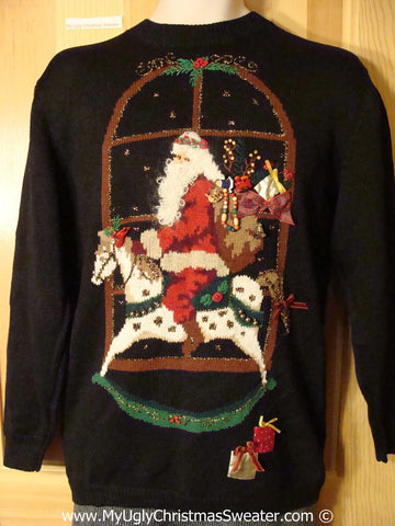 Tacky Christmas Sweater Party Classic 80s Ugly Sweater with Santa Riding His Horse at Night (f1033)