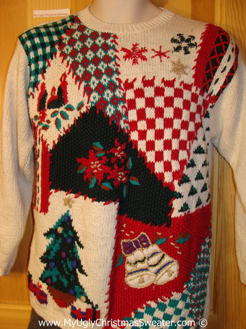Tacky Christmas Sweater Party Classic 80s Horrid Ugly Sweater with Geometric Checkerboard Blocks and Festive Decorations (f1034)