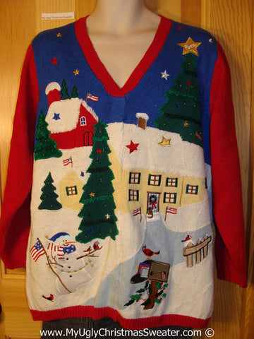 Tacky Holiday Sweater with Two Sided Design with Patriotic Angel Flying over a Festive Town  (f1035)