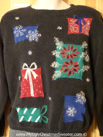 Tacky Holiday Sweater with 80s Style Padded Shoulders and Festive Snowflakes and Gifts (f1036)