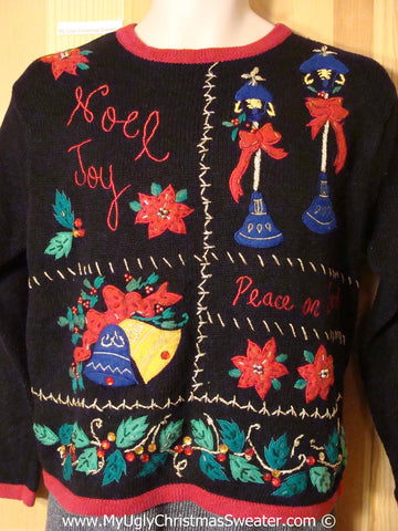Tacky Holiday Sweater with NOEL and JOY and Festive Poinsettias (f1037)