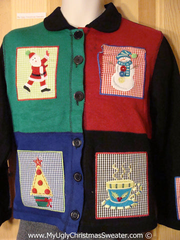 Tacky Holiday Sweater with Crafty Patchwork Checkerboard Blocks of Festive Fun (f1038)