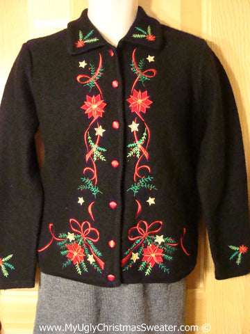 Tacky Holiday Sweater with Bright Red Poinsettias and Green Ivy (f1039)