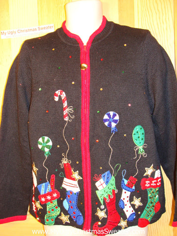 Tacky Ugly Christmas Sweater with Padded Shoulders & Festive Stockings (f103)