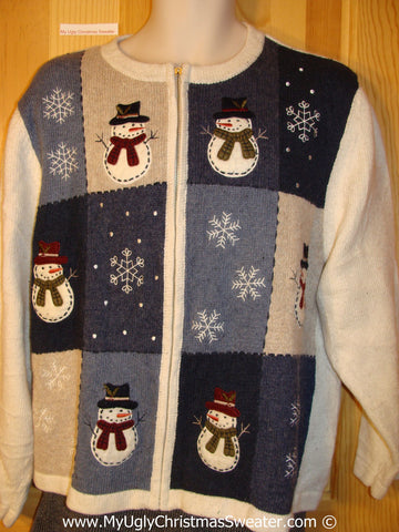 Tacky Holiday Sweater with Blocks of Snowman Friends and Snowflakes (f1041)
