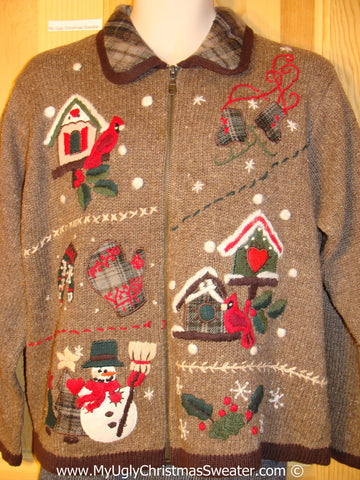 Tacky Brown Christmas Sweater with Plaid collar (f1042)