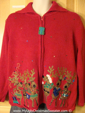 Tacky Holiday Sweater with Dancing Reindeer (f1043)