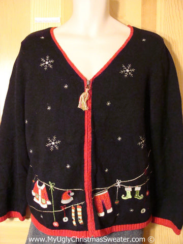 Tacky Holiday Sweater with Santas Clothesline of Festive Clothes (f1044)