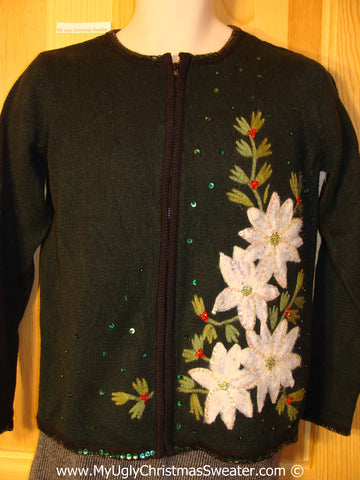 Tacky Holiday Sweater with Bright White Poinsettias (f1045)