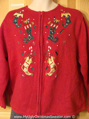 Tacky Holiday Sweater with Bling Festive Stockings  (f1046)