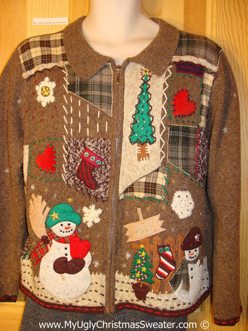 "Tacky Christmas Sweater Party Brown Ugly Sweater with Patchwork Plaid Theme ""NORTH POLE"" (f1047)"