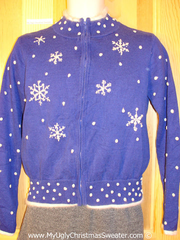 Tacky Holiday Sweater with Snowflakes on Front, Back, and Sleeves (f1048)