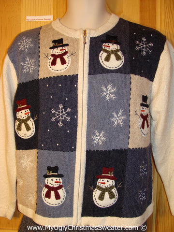 Tacky Holiday Sweater with Snowman Friends and Snowflakes (f1049)