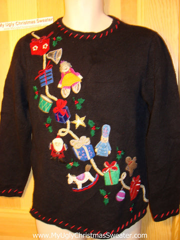 Tacky Ugly Christmas Sweater with a Treasure Trove of Gifts (f104)