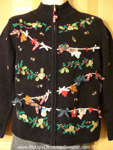 Tacky Holiday Sweater with 3D Bows on Festive Clothesline of Decorations (f1050)