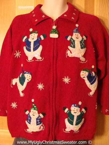 Tacky Holiday Sweater with Bling Decorated Festive Skating Snowman Friends  (f1051)