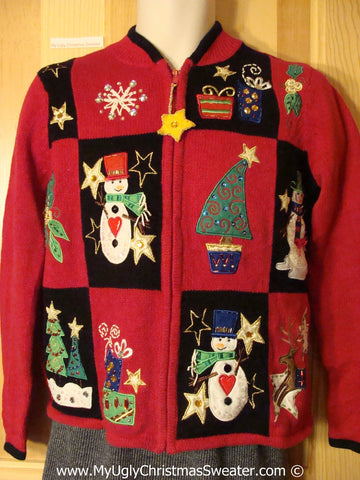 Tacky Holiday Sweater with 80s Style Padded Shoulders and a Star Zipper Pull (f1052)