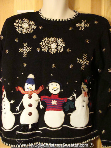 Tacky Holiday Sweater with Four Festive Snowman Friends and a Snowy Nighttime Sky (f1053)