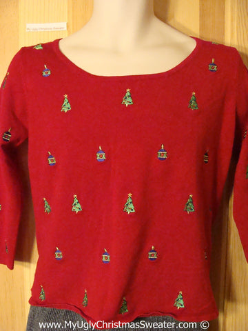 Tacky Holiday Sweater with Satiny Christmas Trees on Front, Back, and Sleeves (f1054)