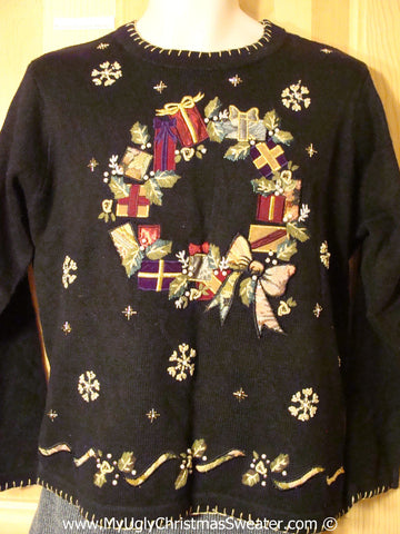 Tacky Holiday Sweater with Huge Bling Bead Accented Wreath (f1055)