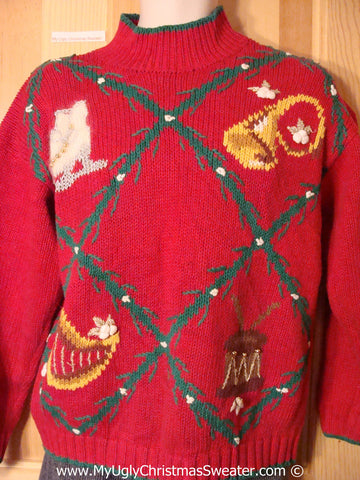 Tacky Holiday Sweater with Bold Festive Diamond Grid of Decorations (f1056)