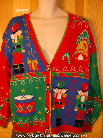 Classic 80s Style Tacky Holiday Sweater with Nutcrackers, Drum, and Bell and Decorations on Front, Back, and Sleeves  (f1058)