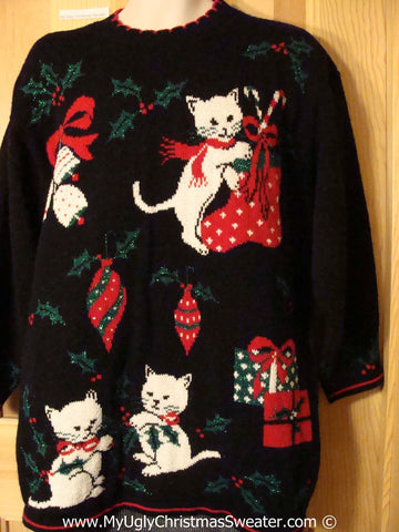 Crazy Cat Lady Alert! Tacky Holiday Sweater with Festive Cats / Kittens Getting into the Decorations  (f1059)
