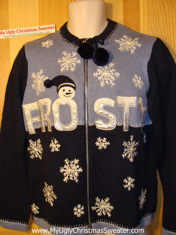 Tacky Ugly Christmas Sweater with Snowflakes and FROSTY the Snowman (f105)