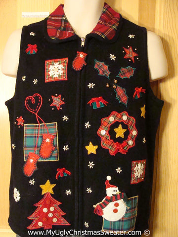 Tacky Holiday Sweater  Vest with Plaid Themed Decorations and a Mitten Zipper Pull  (f1060)