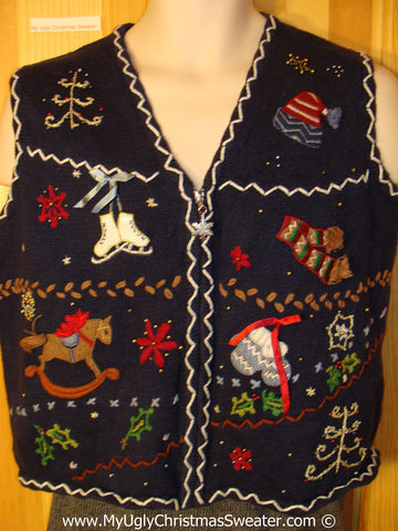 Tacky Holiday Sweater Vest with Crafty Embroidered Grid of Decorations Including Hat, Skates, Scarf,  Mittens, Rocking Horse and Tree.  (f1061)