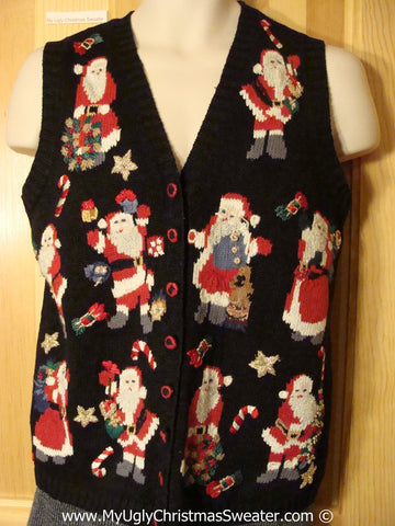 Tacky Holiday Sweater  Vest with Many Santas and Candy Canes (f1066)