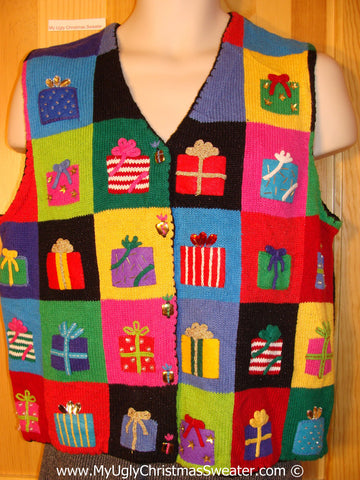 Tacky Holiday Sweater  Vest with Bright Festive Blocks of Colorful Gifts  (f1067)