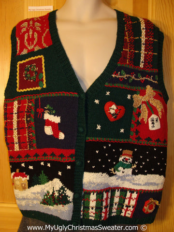Tacky Holiday Sweater Vest with Crafty Plaid Theme Snowman and Winter Scene (f1071)