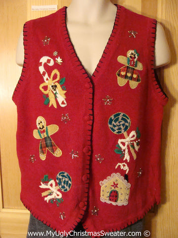 Tacky Holiday Sweater Vest with Gingerbread Men and Candy Canes  (f1074)