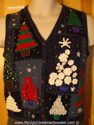 Child Size Tacky Holiday Sweater Vest with 3D Trees  (f1076)
