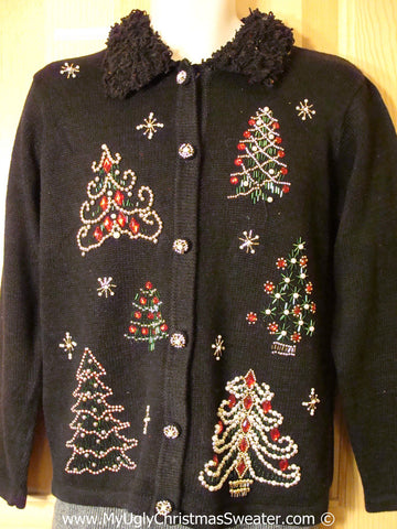 Tacky Holiday Sweater with Furry Collar and Bead Bling Trees (f1077)